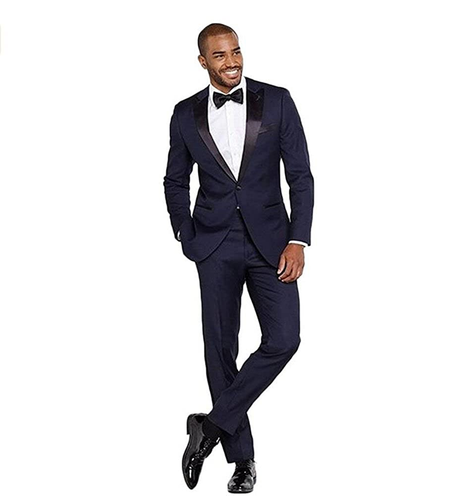 7207cfe46806 Yanlu Navy Blue Mens 2 Piece Suit Slim Fit Wedding Prom Suit Groom Tuxedos  at Amazon Men s Clothing store