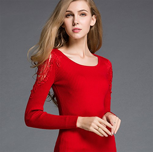 MissFox Mujeres Recorte De Manga Larga De Cuello Redondo Delgado Suave Suéter Pullover Rojo