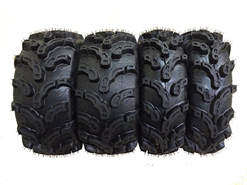 Set of 4 New Premium WANDA ATV/UTV Tires 25x8-12 Front & 25x10-12 Rear /6PR Super Lug Mud