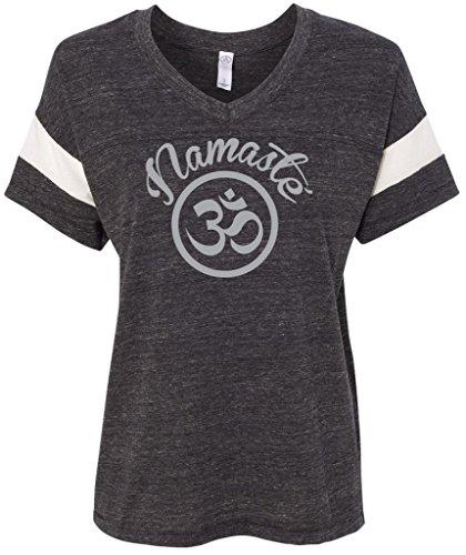 Yoga Clothing For You Ladies' Namaste OM Eco Powder Puff T-Shirt, Large Eco Black/Eco Ivory
