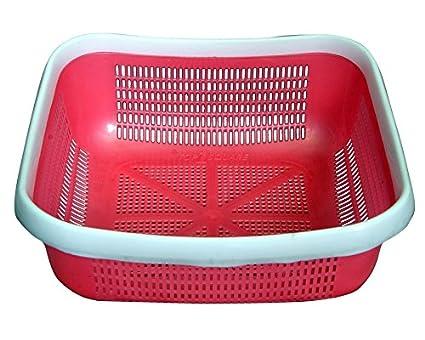 DailyEssentialz Fruits and Vegetables Plastic Basket  Multicolour  Shelf Baskets