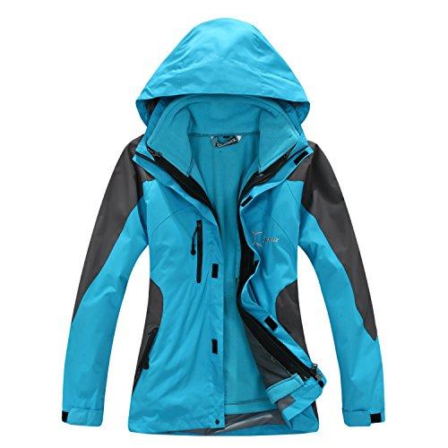 Topway Women's 3in1 Climbing Sportwear Outdoor Jacket Waterproof Warm Coat (Light Blue, L(Height:164-168cm; Weight: 60-65kg))