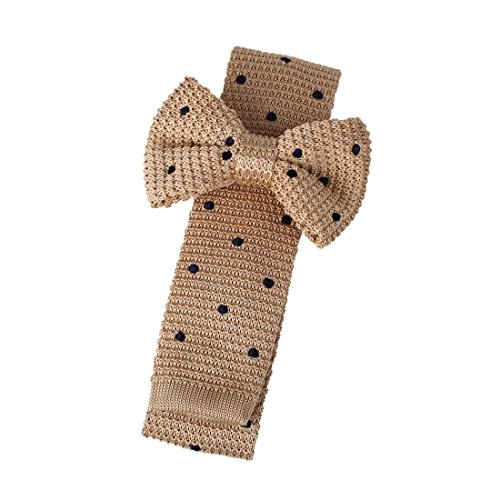 Dan Smith DAP3D01A Light Tan Polka Dots Exporters Design Microfiber Pre-tied Bow Tie and Skinny Tie Set Friendship For Working