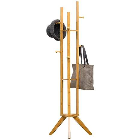 HONGP Perchero, Suelo de bambú Material 6 Ganchos Estable ...