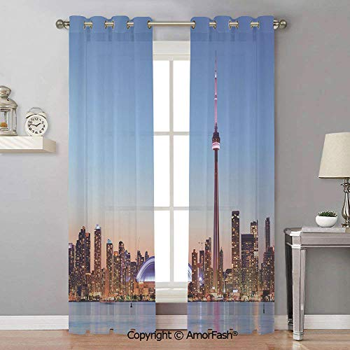AmorFash Modern White Window Sheer Curtain Panels for Living Room,Bedroom,Elegance Curtains,42x96 Inch Canadian Skyline Toronto City with Lake Panorama at Evening Urban Scenery Decorative (Curtains Sheer Toronto)