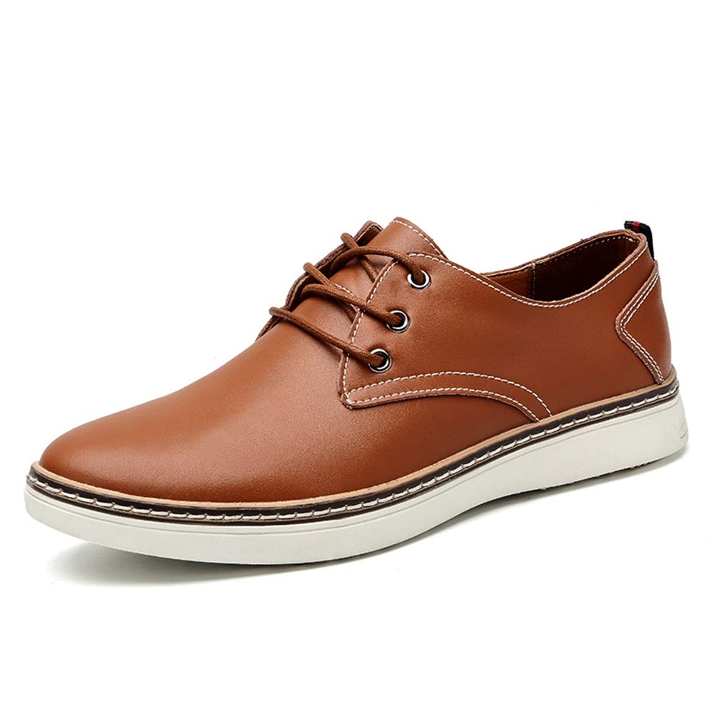 Men's Leather shoes Business Oxfords Casual Simple Comfortable with Rounded Toe Low Top Lace Up Leisure (color   Brown, Size   10 UK)