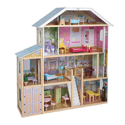 """JOYMOR 48"""" Large Dollhouse with Furniture, Wooden Play Mansion with Elevator, DIY Dollhouse Kit Dream Doll House for Little Girls Kids"""