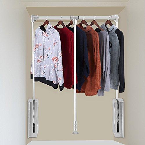 Wardrobe Lift - Wardrobe Hanger, Lift Pull Down Wardrobe Rail Adjustable Width Wardrobe Clothes Hanging Rail Soft Return Space Saving,Adjustable 19.29-25inch
