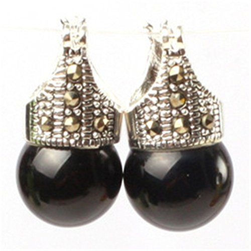 GEM-inside 12mm Round Black Agate Beads Tibetan Silver Marcasite Earrings Jewelry