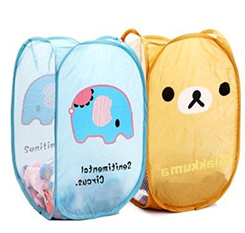 Angelina Selena 2 PCS Cute Relax Foldable Laundry Toys Tidy Clothes Socks Basket Storage Bag (Blue elephant and Bear - Selena Cute
