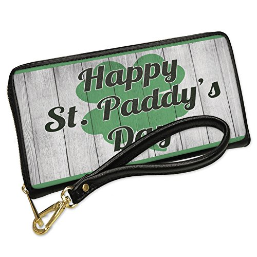 Wallet Clutch Happy St. Paddy's Day St. Patrick's Day Shamrock on Wood with Removable Wristlet Strap Neonblond by NEONBLOND