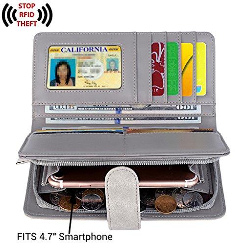 UTO Women PU Leather Wallet RFID Blocking Large Capacity 15 Card Slots Smartphone Holder Snap Closure D Grey by UTO (Image #1)