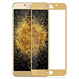CareFone Samsung Galaxy A9 Pro Tempered Glass, Screen To Screen Fit Full Tempered Glass, 2.5D Curved Glass (Gold Edges)