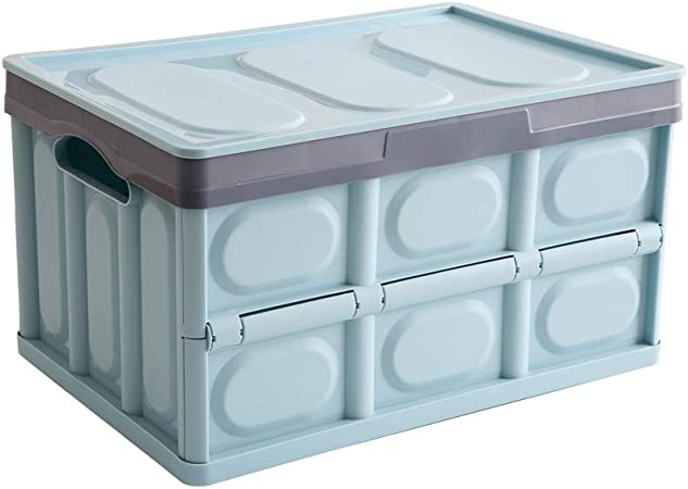 Somine Caja plegable del cajón con la tapa - 52 litros organizador del coche envase de almacenamiento multifuncional plegable para el campo, viaje, hogar - Color: azul cielo: Amazon.es: Hogar