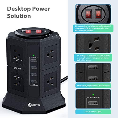 Power Strip Tower Gaming Surge Protector, iClever 8 AC Outlets 4.5A 4 USB Ports Desktop Charging Station with 6.5ft Extension Cord for PC Laptops iPhone Mobile Devices Home Office Overload Protected