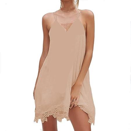 121f6c44d7 Sexy Womens Chiffon V-Neck Cami Beach Dress, Kanpola Ladies Casual Solid  Color Lace Stitching Sleeveless Halter Backless Mini Dresses: Amazon.co.uk:  Kitchen ...