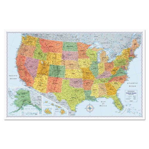 Advantus RM528012762 U.S. Physical/Political Map Dry Erase Single Roller Mounted 50 x 32