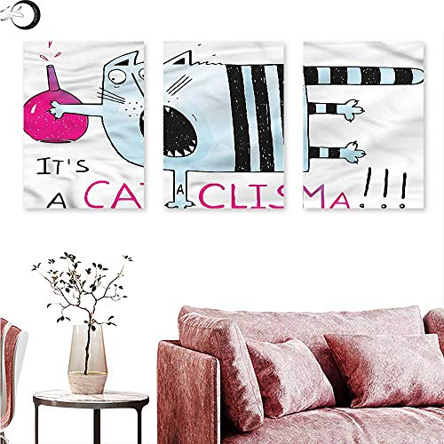 - Anniutwo Quirky Canvas Prints Wall Art Scared of Cat in Science Lab Triptych Art Set W 12