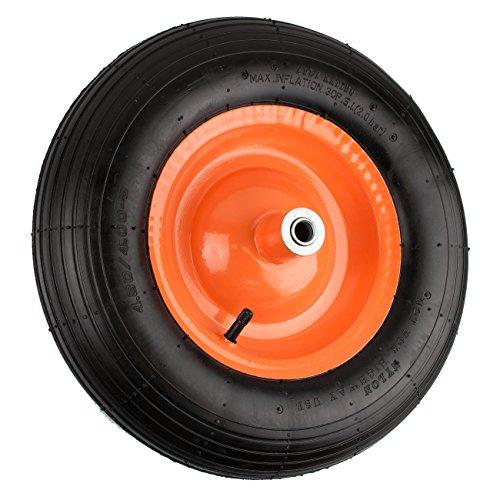 Nk Pneumatic Wheelbarrow Air Tire With Ribbed Tread 6  Inch Centered Hub 5 8  Inch Bearings   15 5  Inch Tire Diameter  4 80 4 00 8
