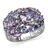 Natural Amethyst & Tanzanite White Gold Plated 925 Sterling Silver Cluster Ring