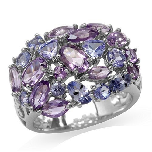 Natural Amethyst & Tanzanite White Gold Plated 925 Sterling Silver Cluster Ring Size 7.5