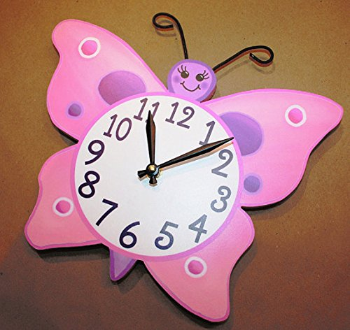 Pink and Purple Butterfly Wooden WALL CLOCK Girls Bedroom Baby Nursery Art Decor WC0023