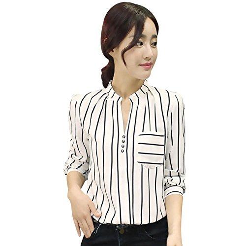 Rcool Donna Fashion Magliette Camicetta a Righe Manica Lunga Pulsante Signora Dell'ufficio del Lavoro Camicetta Top Bianco