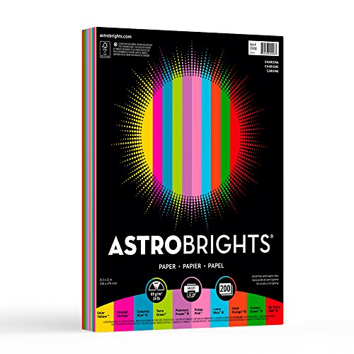 "Astrobrights Color Paper, 8.5"" x 11"", 24 lb / 89 gsm, ""Charisma"" 10-Color Assortment, 200 Sheets"