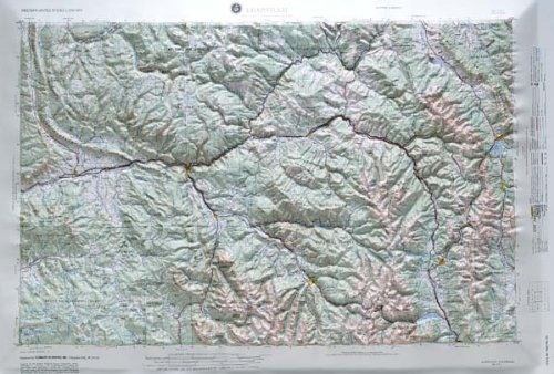 Relief 21 Raised Map - LEADVILLE REGIONAL Raised Relief Map in the state of Colorado with OAK WOOD Frame