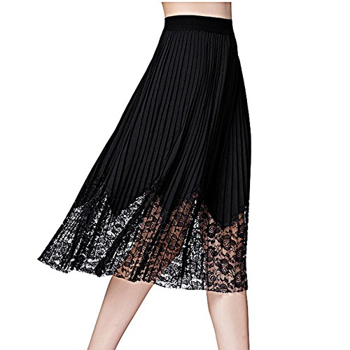 Biovan Women's Chiffon Lace Patchwork A Line Pleated Midi Skirt Plus Size X-5XL hot sale