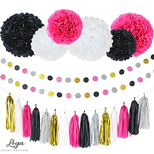 Li★ya Party Decorations - 15 Tassels, 6 Paper Pom Poms, 2 Circle Garlands; perfect for Bridal Showers, Bachelorette, Wedding and Birthday Parties; Pink, Gold, Black, White, Polka Dots -