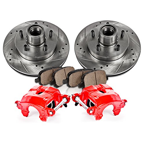 FRONT Powder Coated Red [2] Calipers + [2] Rotors + Quiet Low Dust [4] Ceramic Pads Performance Kit - Camaro Brake Parts