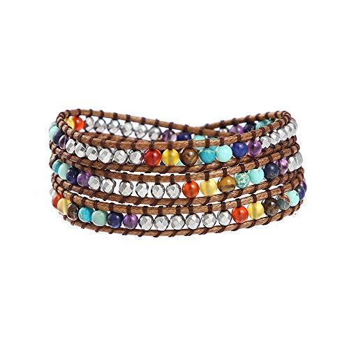 IUNIQUEEN 7 Chakra Natural Stone Healing Hematite Balancing Statement Wrap Rainbow Bracelet for Women ()