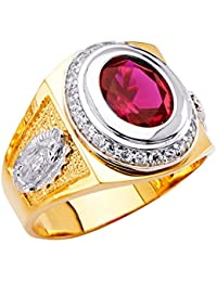 Mens 14K Two 2 Tone White and Yellow Gold CZ Cubic Zirconia Right Hand Ring Band -