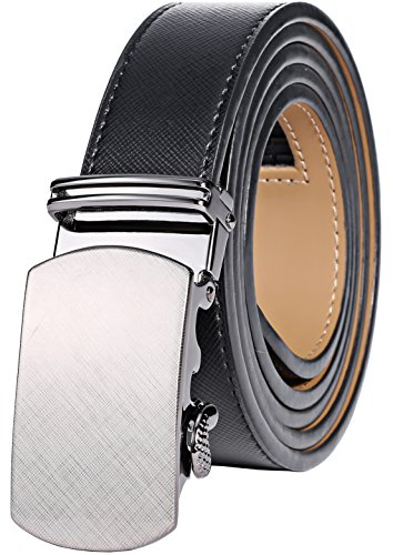 Marino Ratchet Leather Dress Belt For Men - Adjustable Click Belt with Automatic Sliding Buckle, Enclosed in an Elegant Gift Box - black -Adjustable from 28