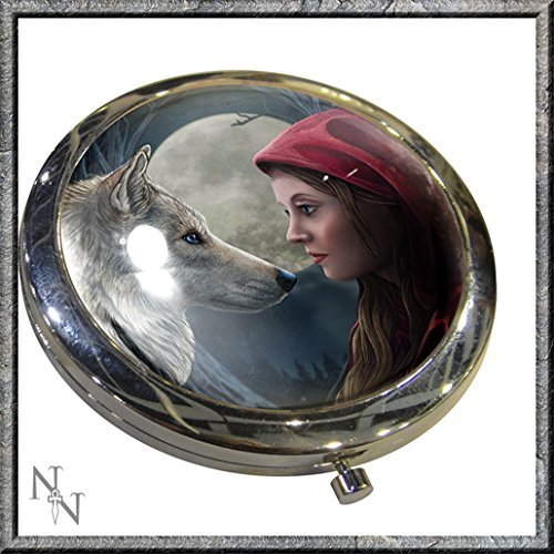 MOONSTRUCK RED RIDING HOOD AND WOLF COMPACT MIRROR LISA PARKER NEMESIS NOW by Nemesis Now