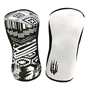 #1 REVERSIBLE Knee Sleeves (SOLD AS A PAIR of 2) Compression and Support for Weightlifting, Powerlifting and CrossFit - 5mm Neoprene Sleeve for the Best Squats - Bear KompleX AZTEC 5mm S