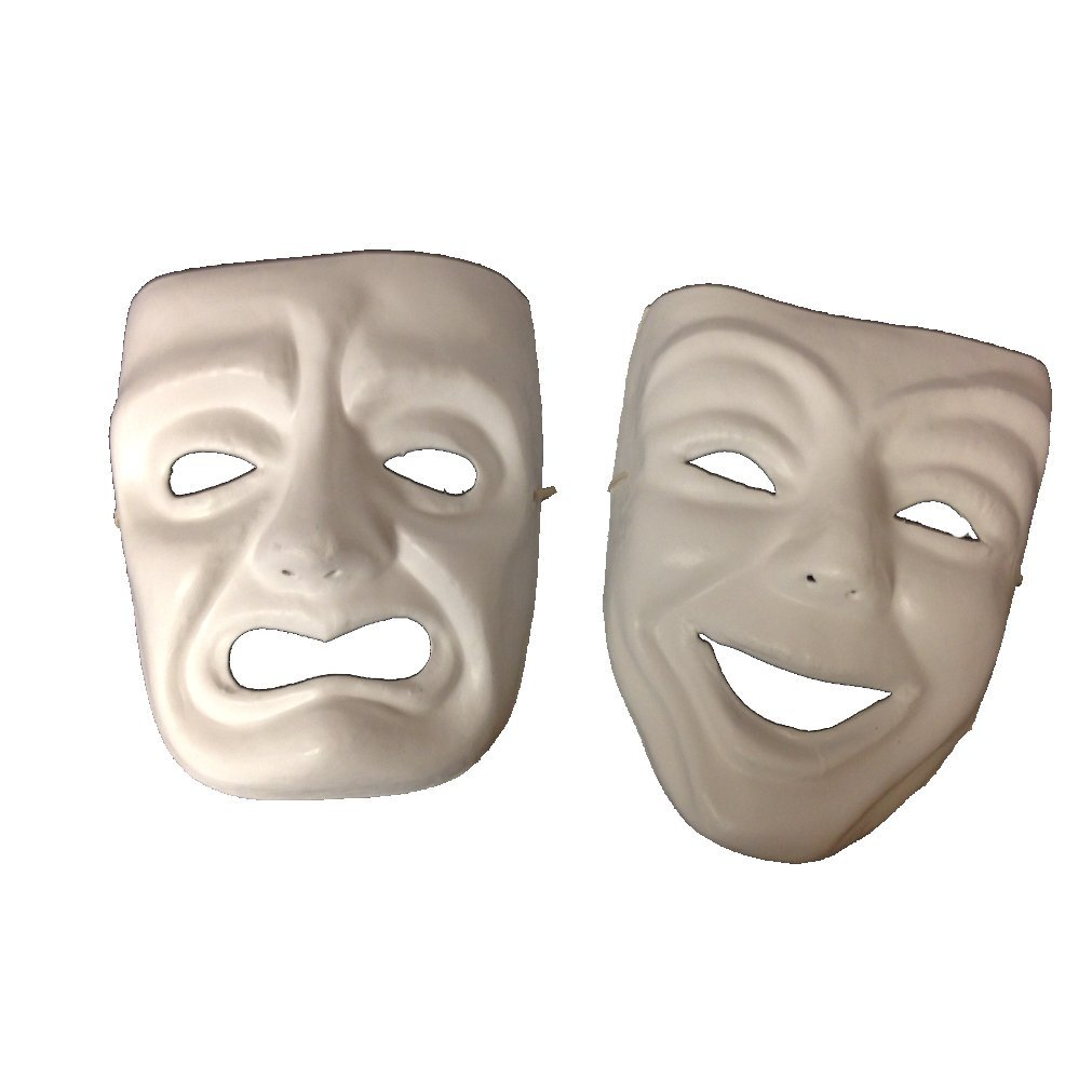 Paper Mache Comedy & Tragedy Masks Paint Yourself Mask with Elastic