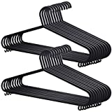 KEPLIN 25x Adult Coat Hangers Black Colour Strong Plastic Clothes with Suit Trouser Bar and Lips (36cm Wide)