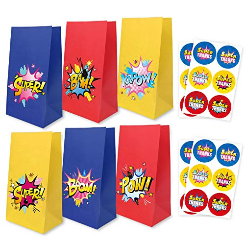 Superhero Party Supplies Goodie Bags with Thank You Stickers, Cartoon Birthday Favor Bags for Superhero Theme Party Decorations Boys & Girls Birthday Party Treat Bags, Set of 24