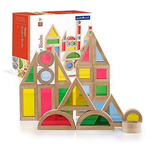 Guidecraft Jr. Rainbow Blocks: 40 Piece Set - Kids Learning & Educational Toys, Stacking Blocks