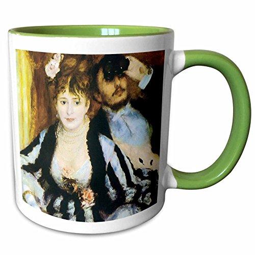 3dRose BLN Impressionist Fine Art Collection - La Loge by Pierre-Auguste Renoir - 15oz Two-Tone Green Mug (mug_127357_12) ()