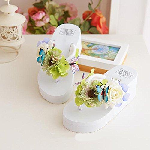 Scothen Mensaje del dedo del pie sandalias para la flor de zapatos de playa tirón de las mujeres fracasos zapatillas sandalias de deslizamiento de vacaciones de verano sandalias romanas sandalias C