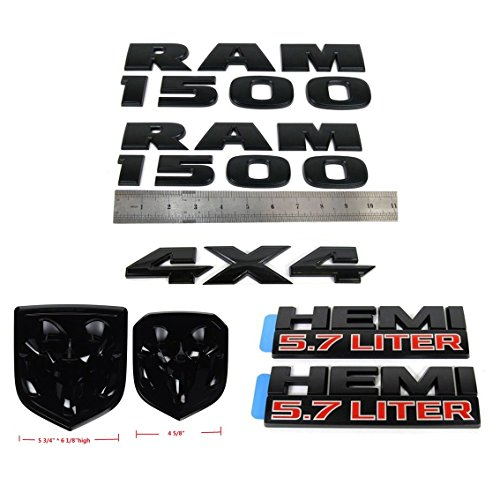 Set OEM Black RAM 1500 4X4 plus Grille Tailgate 5.7 Liter HEMI Emblems Badge Replacement for RAM 1500 2013-2018 Black ()
