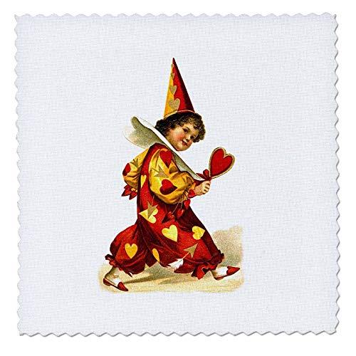 3dRose VintageChest - Valentine - Ellen Clapsaddle - Valentine Harlequin with Heart - 12x12 inch Quilt Square (qs_303230_4) ()