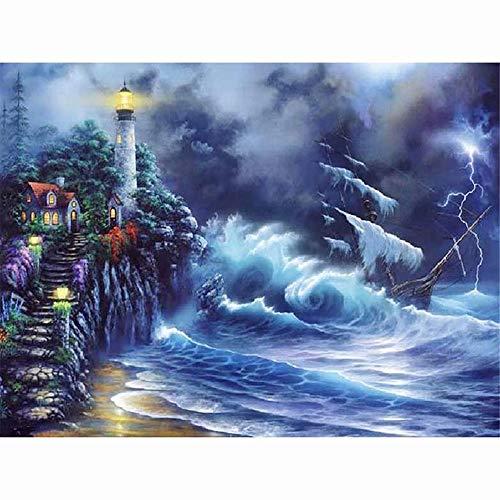 Lightning Sailboat - 5D Diamond Painting Kits Full Drill Diamond Embroidery - Lightning Beach Lighthouse Sailboat,19.7 X 27.6 Inch(Frameless)