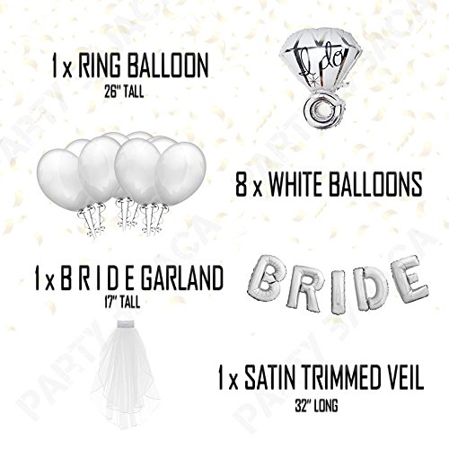 Silver & White Classy Hens Bachelorette KIT - 15 Piece Set: 8 Latex Balloons - 1 3D FOIL Banner Bride - 1 Satin Trimmed Veil - 1 Shiny Ring Balloon by JACA (Image #6)