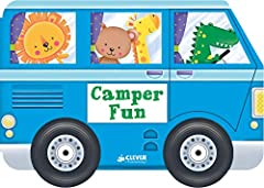 Bear and friends are going camping with this board book shaped like a camper! Clever's Wonder Wheels series introduce toddlers to popular vehicles in a grab-able, hold-able format! The thick board pages feature colorful illustrations t...