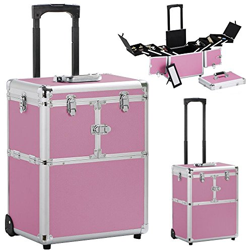 Yaheetech Professional Artist Rolling Makeup Artist Case Makeup Trolley Travel Cosmetic Case Beauty Train Case Cosmetic Organizer Pink