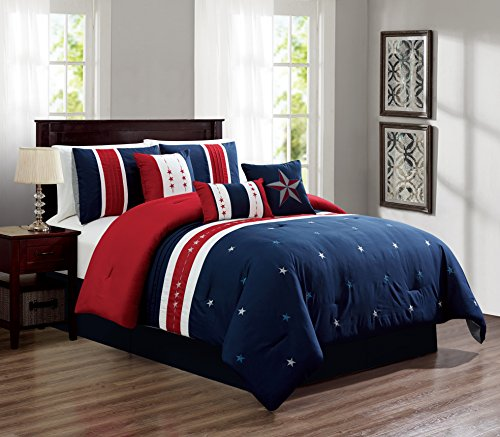 (Empire Home 7 Piece USA Star Soft Oversized Comforter Set 21270 (Red White & Blue, King))